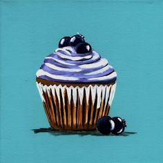 This is a print of a painting, painted by me, Diana Evans. I am known as the virtual cupcake queen for all the art I do that is inspired by these Cupcake Painting, Cupcake Art, Cupcake Cakes, Cup Cakes, Cupcake Illustration, Blueberry Cupcakes, Cupcake Queen, Easy Paintings, Drawing Tips