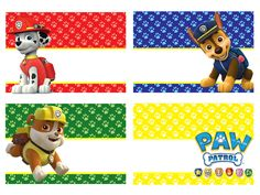 Paw Patrol Names, Paw Patrol Party Invitations, Imprimibles Paw Patrol, Paw Patrol Birthday Theme, Zuma Paw Patrol, Paw Patrol Decorations, Cumple Paw Patrol, School Labels, Puppy Party