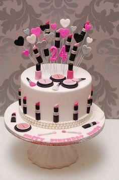 70 birthday party ideas for women Torte Lippenstift 30th Birthday Cake For Women, 24th Birthday Cake, Makeup Birthday Cakes, Birthday Kids, Make Up Torte, Make Up Cake, Bolo Barbie, Barbie Cake, Fete Audrey
