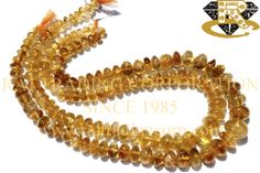 Citrine Smooth Roundel (Quality C) Shape: Roundel Smooth Length: 36 cm Weight Approx: 55 to 57 Grms. Size Approx: 7 to 12 mm Price $6.72 Each Strand