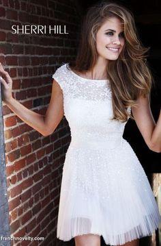 Sherri Hill Ivory Short Beaded Wedding Reception Dress 2840 at frenchnovelty.com