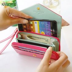 """5.5 """"billetera case mujeres de la muchacha de la pu piel cubierta de bolsa para iphone 7 6 6 s plus 5S sí 4S encantadora de lujo case para samsung galaxy s5 S6"""