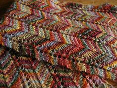 Missoni-inspired scarf, free pattern on Ravelry; this works with almost any hand dye. Or try it with a self striping yarn like Lorna's Laces...