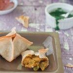 Baked Wonton Wraps with Potato peas masala