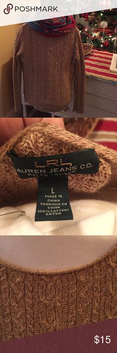 Ralph Lauren brown heathered cable knit sweater. Beautiful brown heathered cableknit sweater by Ralph Lauren. Excellent condition. Some minor wash wear. I love that this sweater is cable knit all the way around and the sleeves too!  Nice scoop neck Ralph Lauren Sweaters Crew & Scoop Necks