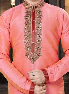 Buy Pink Embroidered Kurta Pyjama online, SKU Code: This Pink color kurta pyjama for Men comes with Embroidered Art Silk. Indian Men Fashion, African Fashion Ankara, Mens Fashion Suits, Women's Fashion, Gents Kurta Design, Boys Kurta Design, Wedding Kurta For Men, Wedding Dress Men, Kurta Pajama Men