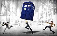 """Shizuo: """"DAMMIT IZAYA!!"""" Izaya: """"You'll never catch me~!"""" Doctor: """"Wait, my TARDIS!!"""""""