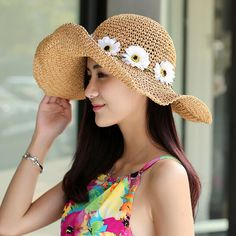 Women Lady Wide Large Brim Cap Striped Floppy Summer Beach Sun Straw Beach Hat Y