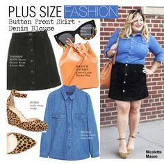 Plus Size Fashion-Button Front Skirt + Denim Blouse by kusja on Polyvore featuring moda, Violeta by Mango, Topshop, Mansur Gavriel, Illesteva, women's clothing, women's fashion, women, female and woman