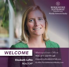 BERKSHIRE HATHAWAY HOMESERVICES FLORIDA NETWORK REALTY WELCOMES ELIZABETH LOFTIN