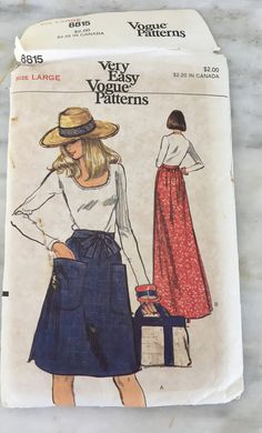 """vintage Vogue 8815 pattern, Misses wrap around skirt sewing pattern, size Large, waist 30-32,""""  Hip 40-42"""" by MotherMuse on Etsy"""