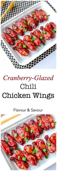 Cranberry-Glazed Chili Chicken Wings. Quick and easy wings! Sweet with a bit of a kick. Perfect for holiday parties. Only 3 ingredients! |www.flavourandsavour.com