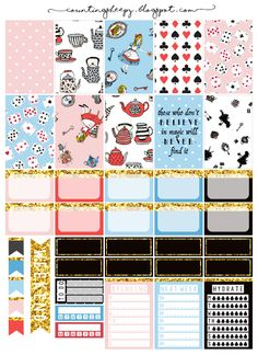 Free Printable Alice in Wonderland Planner Stickers from Counting Sheepy