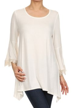 3/4 Sleeve Crochet Trimmed Tunic Top