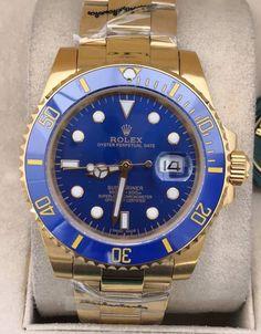 Relógio Rolex Oyster Perpetual Date SUBMARINER – 16233 – Dourado c/ Fundo Azul – Réplica Premium AAA+ Rolex Oyster Perpetual, High School Graduation, Graduate School, Rolex Watches, Accessories, Woman Watches, Female Models, Designer Clocks, Luxury