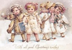 Pink Christmas Wonderland Snow Children and by CottageRoseGraphics Happy Merry Christmas, Old Christmas, Christmas Scenes, Old Fashioned Christmas, Victorian Christmas, Retro Christmas, Christmas Greetings, Christmas Wishes, Christmas 2019
