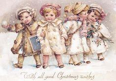 Carte ancienne .Des enfants dans la neige