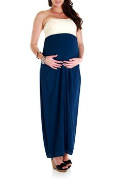 Strapless maxi maternity dresses