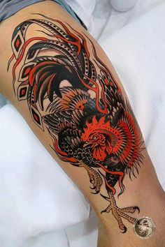 Thigh tattoos for men done by tattoo artist Pablo Lillo Thigh Tattoo Men, Cool Wrist Tattoos, Leg Sleeve Tattoo, Sexy Tattoos, Life Tattoos, Tattoos For Guys, Hen Tattoo, Rooster Tattoo, Tattoo Kits