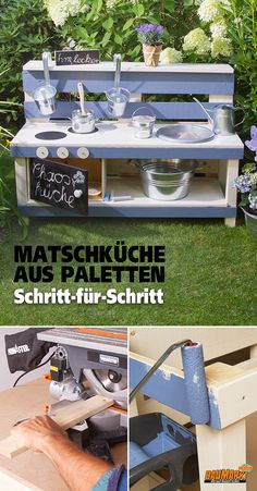 Matschküche aus Paletten selber bauen If you want to become a kitchen master, practice early. Sand Cake, Decor Scandinavian, Mud Kitchen, Diy Fireplace, Construction, Build Your Own, Garden Inspiration, Kids And Parenting, Diy For Kids