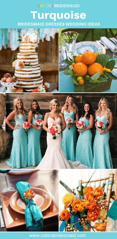 Turquoise blue bridesmaid dresses long in styles, affordable under custom free, all sizes, great with orange bouquet and wedding decorations. Dark Teal Bridesmaid Dresses, Bridesmaid Gifts, Bridesmaids, Wedding Dresses, Perfect Wedding, Our Wedding, Spring Wedding Inspiration, Wedding Hair Accessories, Simple Dresses