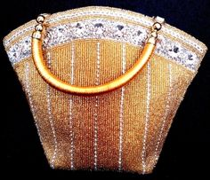 Handmade Beaded Clutch on Satin- Golden (Tapered)-This gorgeous brocade beadwork clutch has been handmade by the lady artisans of central India.