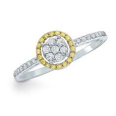 1/4 CT. T.W. Yellow and White Diamond Circle Frame Ring