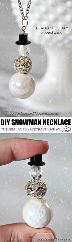 Christmas Gift Idea- We love this Handmade Gift Idea! Just 3 simple steps to create this Beaded Holiday Necklace! PIN IT NOW and make it later!