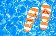 pink summer, orang, flip flops, summer lovin, sandal, flipflop, pool time, summer paradise, summer time