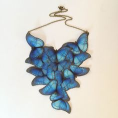 Migration - Handmade Blue Morpho Cotton and Silk Organza Butterflies Necklace - One of a Kind by TheButterfliesShop on Etsy
