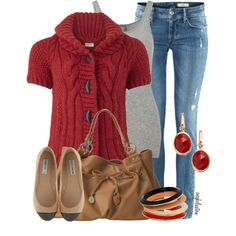 red, nude, gray --> love the look but it would look better with more matching colors.