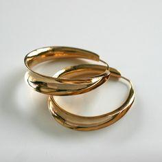 14k Yellow Gold Eternal Hoop Earrings Handmade