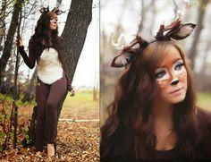 Kostüme frauen fasching natur ideen hirsche makeup braun anzug ohren