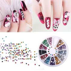 HNM 3D Nail Art Decorations Mixed Nail Art Tips Decor Glitters Rhinestones for Nails Crystal Gems DIY Manicure Wheel