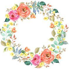 Декупаж в Кургане | VK Flower Circle, Flower Frame, Flower Art, Wreath Watercolor, Watercolor Flowers, Watercolor Paintings, Toddler Art Projects, Birthday Frames, Borders And Frames