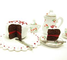 Miniature Chocolate Polymer Clay Dollhouse Cake with Red Hearts ...