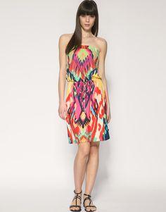 Tropical Ikat Print Bandeau Dress