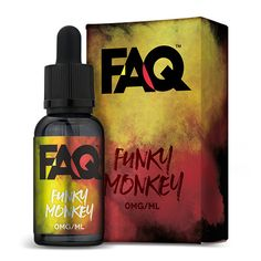 FAQ Vapes Funky Monkey 30ml - As the sun rises in the misty jungle a monkey travels from tree to tree in search of the perfect fruit combination. Through his travels he finds his favorite flavors: bananas, kiwis and strawberries. As he proceeds to mash them together, he drinks the ambrosia of his labor. Becoming manic, he flies off again into the jungle, in search for more. This may very well be the perfect fruit blend.MAX VG