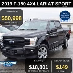 Stock# 04.14 - 9F1548  $0 down, 2019 4x4 F150 LARIAT with Sport Package  Lease it for $149/week.  Loaded with 502A PACKAGE which has:  >Blind Spot Info System (BLIS)  >LED Side Mirror Spot Lights  >B&O Sound System.... Ford Employee, Spot Lights, Car Deals, 2019 Ford, Car Ford, Blind, Ontario, 4x4, Engineering