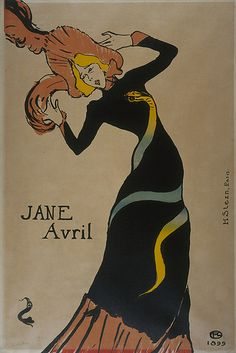 Jane Avril poster, 1899 // illustration by Henri de Toulous-Lautrec