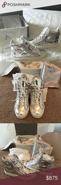 100% Authentic GIUSEPPE ZANOTT 100% Authentic GIUSEPPE ZANOTT: Use in great condition wore them once: Size 39: Color Silver. May have a couple little marks on the shoes but it is so shiny that you can barely tell the only way you can tell if your really up close and really eyeballing it. Other than that they are in great almost like in new condition. Box and dust bag included: receipt is not included: Not a smoke free 🏡 No return policy Giuseppe Zanotti Shoes Sneakers