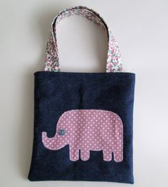 Pink Elephant bag denim tote bag for little girl small by Mayflair