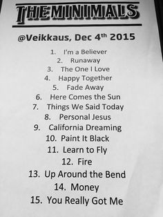 The setlist of our 3rd gig.