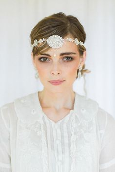 gatsby hair styles pearl wedding forehead band brow headband chain bridal 3617