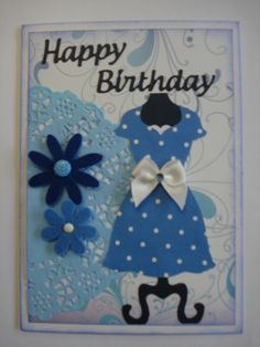 More fun with my Stampin Up dress die - add half a doily and you have a very quick pretty card.