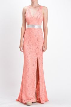 Lace Long Bridesmaid Dress in Navy, Coral and Mint