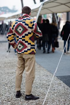 Graphic Knit Cardigan - The Sartorialist Best Mens Leather Jackets, Ethno Style, Sartorialist, Denim And Supply, Cardigans, Sweaters, Men Looks, Well Dressed, Street Wear