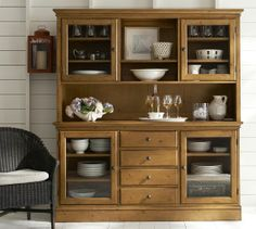 Tucker wall unit pottery barn buffet with hutch glass cabinet doors, dining Crockery Cabinet, Dining Cabinet, Crockery Units, Cabinet Doors, Outdoor Dining Furniture, Kitchen Furniture, Furniture Legs, Furniture Makeover, Furniture Design