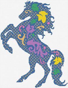 Chart Counted Cross Stitch Pattern Needlework Xstitch WHITE HORSE