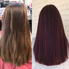 Mousy brown to rich mahogany trim and blow out! Hair Dye Tips, Dye My Hair, Dyed Natural Hair, Natural Hair Styles, Long Hair Styles, Pelo Color Vino, Red Highlights In Brown Hair, Red Hair Inspo, Hair Streaks
